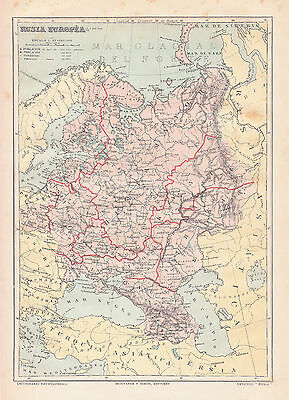 1912 Antique Map of Russia