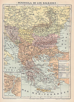 1912 Antique Map of The Balkans