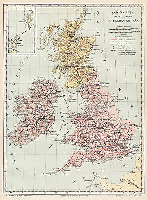 1912 Antique Map of Great Britain
