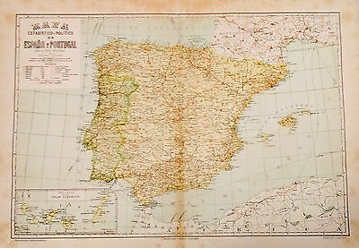 1912 Antique Map of Spain & Portugal