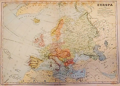 1912 Antique Map of Europe, Just Before WWI.