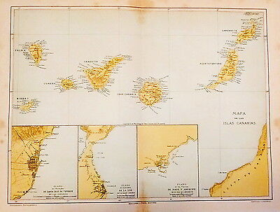 1912 Antique Map of the Canary Islands, Spain