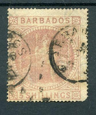 Barbados 1873 5s dull rose SG64 used cat £300 - see desc