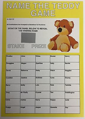 Name The Teddy Scratch Card A4 Name The Bear Fundraising School Fete Brownies
