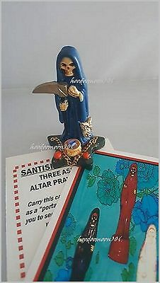 Blue Santisima Muerte Skull Grim Reaper Lady of Holy Death Statue Star Base
