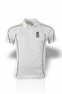 High Quality White Cricket Shirt With England Logo Short Sleeve Large 42-44Cm