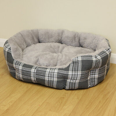 Large Grey Check Thick Plush Soft Dog/Puppy/Cat Pet Bed Furry/Warm Cushion L