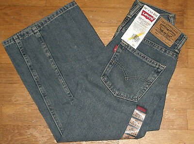 Boys Levi's 550 Relaxed Fit Straight Jeans Sits At Waist Washed Blue New