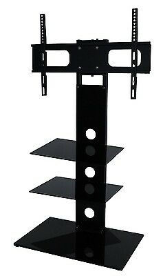 "Black Glass TV Stand With Bracket Cantilever For 26 - 43"" Television Two Shelf"