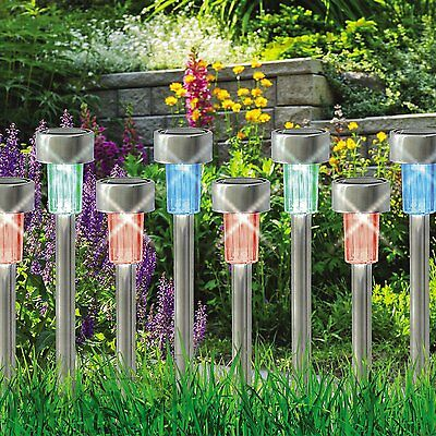 10X Colour Changing Led Stainless Steel Garden Rechargeable Lamps Solar Lights