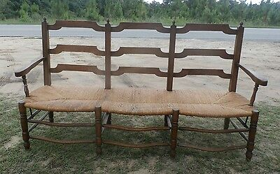 Antique French Ladderback Walnut Bench w Rush Seat