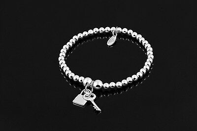 Sarulo 925 Solid Sterling Silver Beaded Bracelet Jewelry Fashion Gift Charm Real