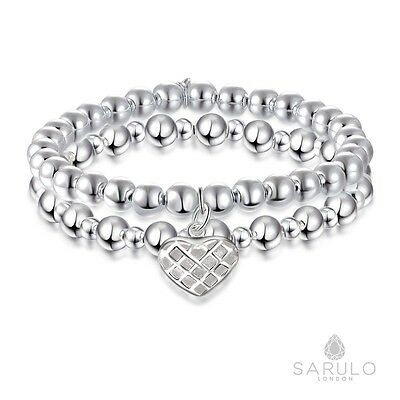 Sarulo Silver Bracelet Stack 925 Solid Sterling Boho Jewelry Beaded Fashion Gift