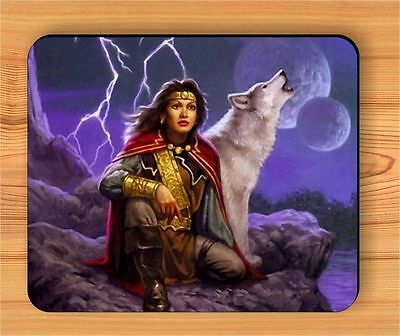 PRINCESS AND WOLF FANTASTIC WORLD MOUSE PAD -lo56fe