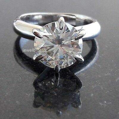 3.00 Ct Beautiful Nearly White Moissanite Engagement Ring 925 Sterling Silver