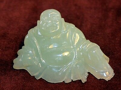 JADE Laughing BUDDHA - Hand Carved Small Figurine - Light Green Jade