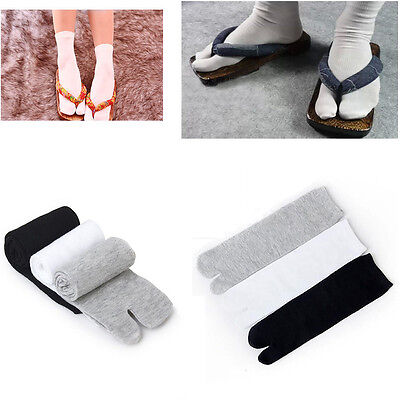 Unisex 1pair Split Toe Japanese Kimono Geta Sock Clog Flip Flop Cotton Tabi Sock