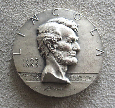 1963 Silver Abraham Lincoln Emancipation Proclamation 65 Gram High Relief Medal