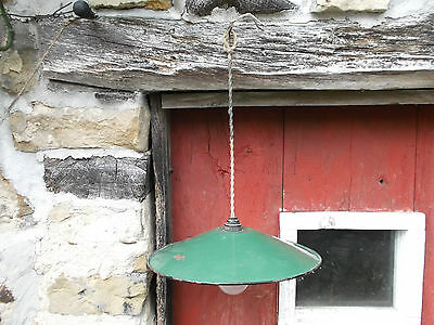 French antique ceiling light c.1940 green porcelain enamel shade classic dia 12""