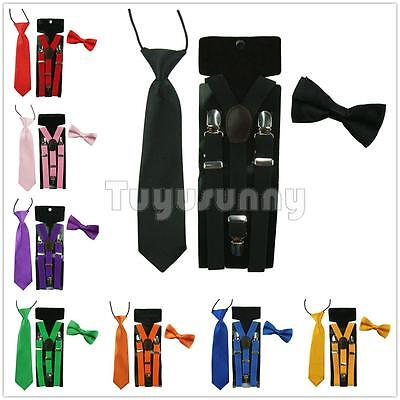 Baby Boy Girl Kids Child Clip-on Y-Back Braces Elastic Suspender Bow Tie+NeckTie