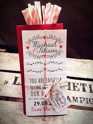 Personalised Wedding Invitations Handmade Rustic Heart Set + Free Envelopes