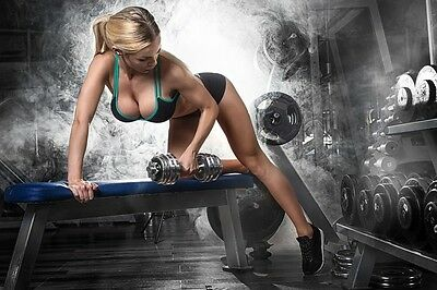 Gym Workout Exercise Girl Poster A - 5 Sizes - Waterproof Laminated Option