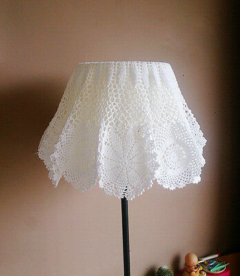 Hand Crochet Lace Floral Doily Placemat Table Cloth Lampshade Cover 70CM White