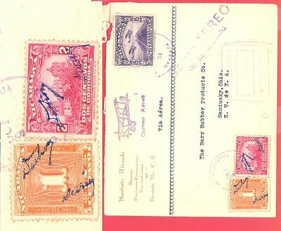 Nicaragua 2 diff Overprint + 35c Air Mail used on Registered cover to USA 1934