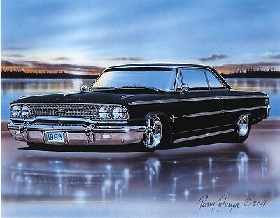 1963 Ford Galaxie 500 Sports Hardtop Muscle Car Art Print Black 11x14 63