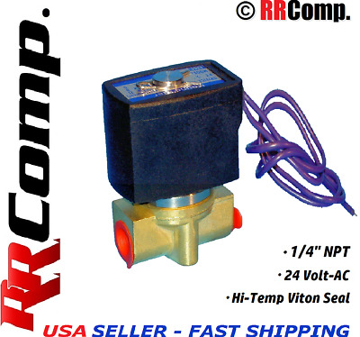 "1/4"" NPT 24-VOLT AC Brass Electric Solenoid Valve, Seal VITON: Air, Water, Oil"