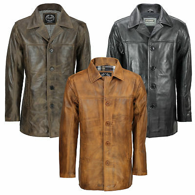 Mens Vintage Real Leather Black Tan Brown Classic Reefer Jacket Mid Length Coat