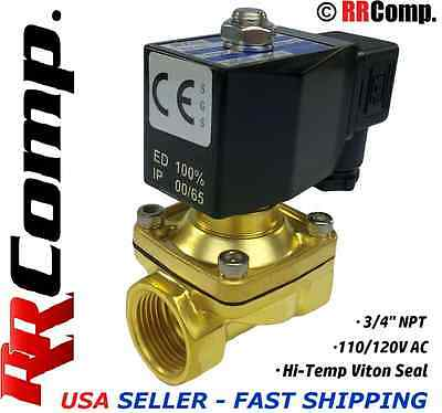 3/4 NPT 110/120 AC Brass Electric Solenoid Valve, Seal VITON: Air,Water,Oil N/C