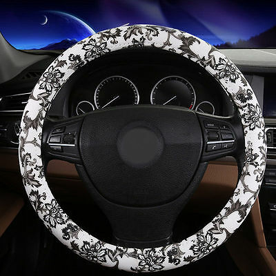 "New Grey 38CM 15"" Uniserval Classic Flower Rubber Car Steering Wheel Cover"
