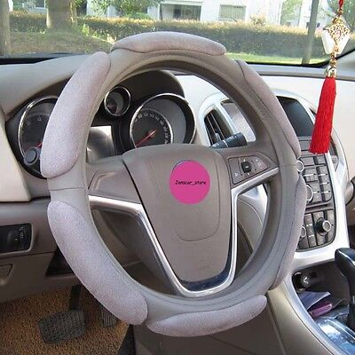"Grey 38cm 15"" Warm Suede Anti-slip Sport Universal Car Steering Wheel Cover"