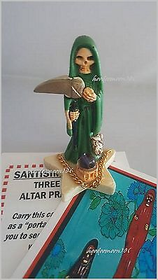 Green Santisima Muerte Skull Grim Reaper Lady of Holy Death Statue Star Base