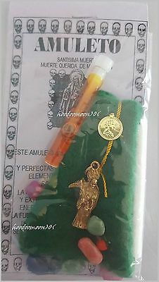 Green Santisima Muerte Skull Grim Reaper Lady of Holy Death Amulet Spell Bag