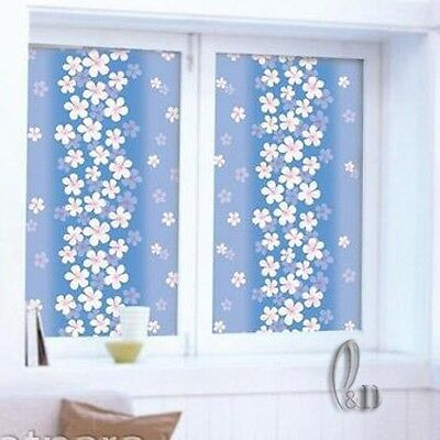 92cmx3m Blue Floral Privacy Frosted Frosting Removable Glass Window Film c1090-1