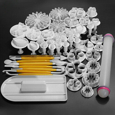 Cake Decorating Fondant Icing Plunger Cutters Tools Mold Sugarcraft 46Pcs Pack