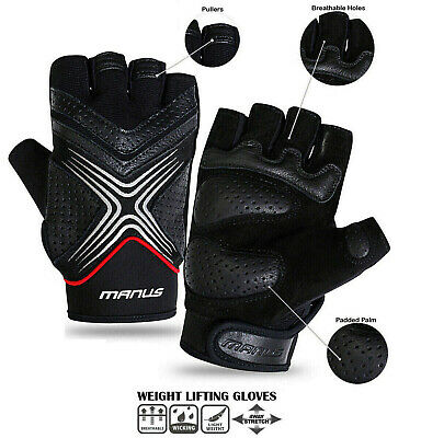 Weight Lifting Gloves Body Building Gym Fitness Half Finger Leather Gloves