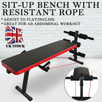 AB Abdominal Sit Up Bench Flat Workout Exercise Fitness Training Home Gym Rope