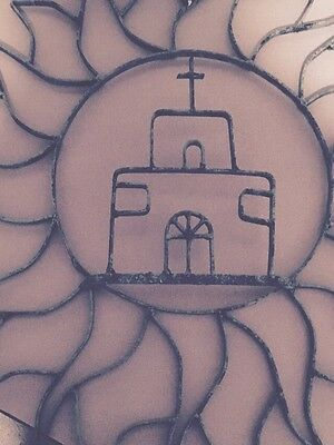 Large Iron Green Sun & Church from Mexico Wall Art