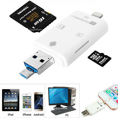 USB i-Flash Drive Micro SD TF Memory Card Reader Adapter For iPhone iPad Android