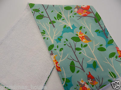 Burp Cloth Whimsy Woodland Owls On Aqua -1 Only Toweling Back GREAT GIFT IDEA