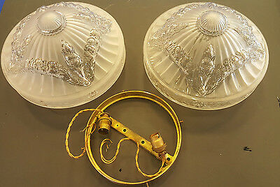 Two Frosted Glass Ceiling Lights Swag Decoration - One with fitting - circa 1920