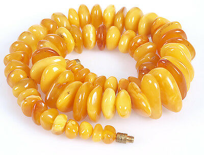 Antique Natural Egg Yolk Butterscotch Baltic amber necklace, 76.57 grams