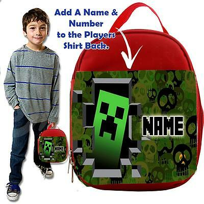 Personalised EAT SLEEP GAMER MINE GAMER RED Lunch Bag Insulated Cool Box SCHOOL
