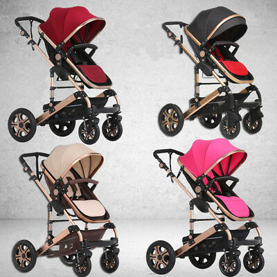 4 In 1 Baby Toddler Pram Stroller Jogger Reversible Aluminium With Bassinet