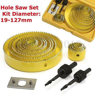 16Pcs Carbon Steel 13 Hole Saw 19-127mm Wood Working Metal Holesaw Cutting Set