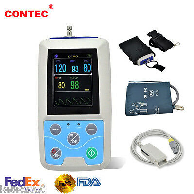 FDA CONTEC 24 Hours Ambulatory Blood Pressure Patient Monitor + SPO2 Probe + PR