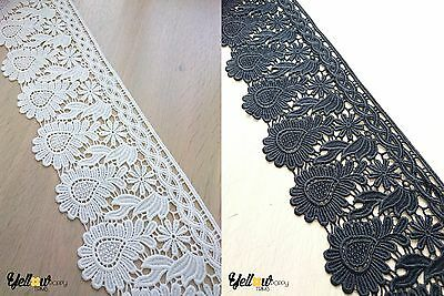 Wide Vintage Style Guipure Lace Trim Crochet Wedding Sewing Bridal Fabric 11cm
